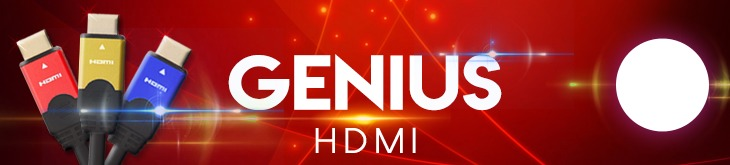 Red Blue and Gold Genius HDMI Cables
