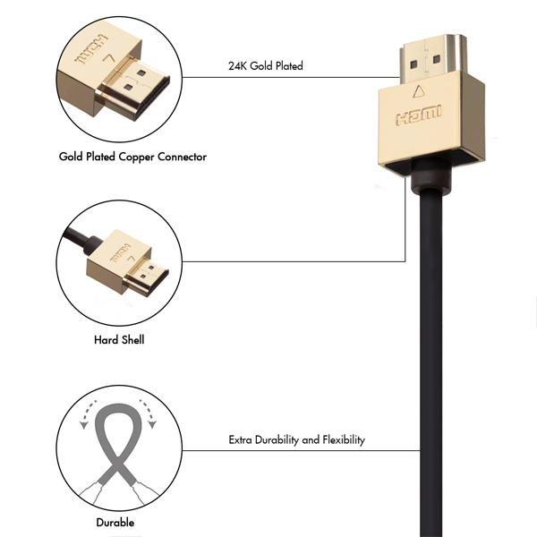 3m HDMI Cable, compatible with Philips - Smallest Head SUPREME GOLD 'In The World' (SH3GLD)