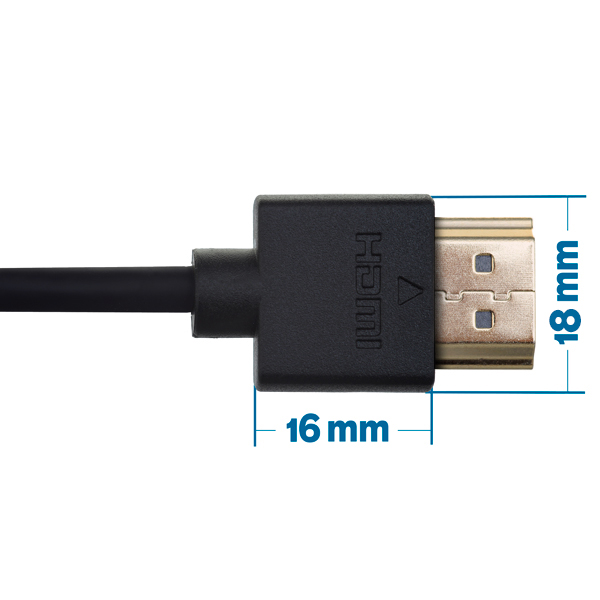 2m HDMI Cable - Smallest Head SUPREME BLACK 'In The World' (SH2BLK)
