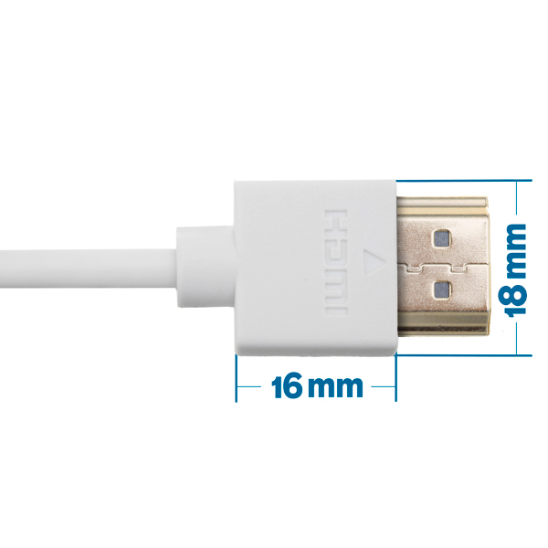 0.5m HDMI Cable, compatible with Virgin Media Box - Smallest Head SUPREME WHITE 'In The World' (SH0.5WHT)