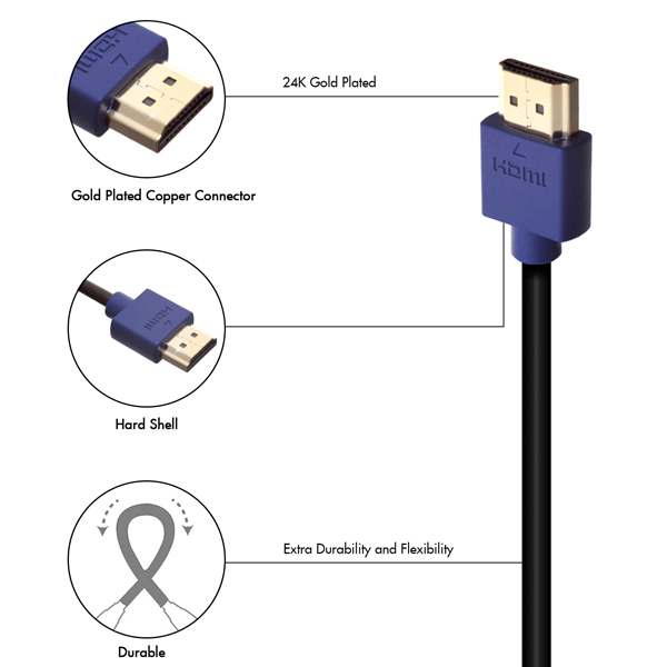 1m HDMI Cable - Smallest Head SUPREME BLUE 'In The World' (SH1BLU)