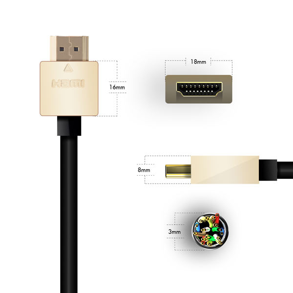 5m HDMI Cable, compatible with Projectors - Smallest Head SUPREME GOLD 'In The World' (SH5GLD)