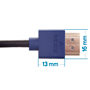 2.5m HDMI Cable - Smallest Head SUPREME BLUE 'In The World' (SH2.5BLU)